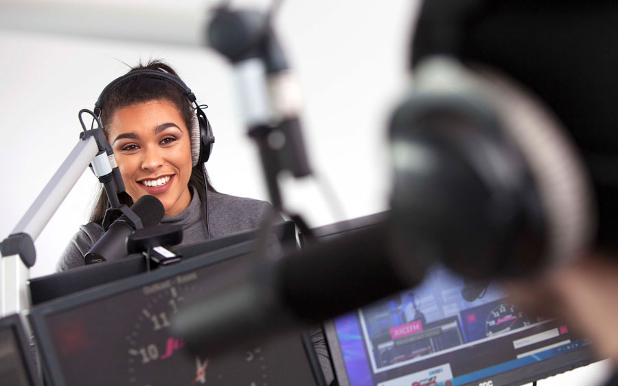 Radio broadcasting students in the studio