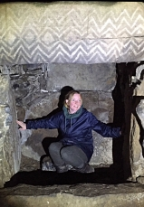 Caoimhe Ní Chiardha from Culture & Heritage Studies in Fourknocks Passage Tomb on her field-trip to the Boyne Valley
