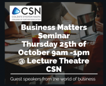 'Business Matters' Seminar. Guest speakers from the world of business @ CSN College of Further Education, Cork